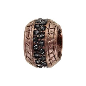 Charms Thabora grand modèle pour homme en acier et PVD marron boule empierrée sertie oxydes noirs - Vue 1
