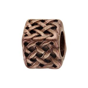 Charms Thabora grand modèle pour homme en acier et PVD marron cube et tresse relief - Vue 1