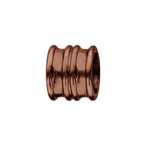Charms Thabora grand modèle pour homme en acier et PVD marron forme double anneaux évasés - Vue 1
