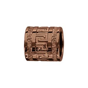 Charms Thabora grand modèle pour homme en acier et PVD marron forme tube avec méandres grecs - Vue 1