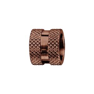 Charms Thabora grand modèle pour homme en acier et PVD marron motif diamanté sur les bords et bande lisse au milieu - Vue 1