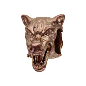 Charms Thabora grand modèle pour homme en acier et PVD marron tête de loup - Vue 1