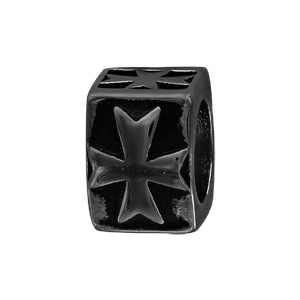 Charms Thabora grand modèle pour homme en acier et PVD noir croix sur templier cubique - Vue 1
