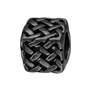 Charms Thabora grand modèle pour homme en acier et PVD noir cube et tresse relief - Vue 1