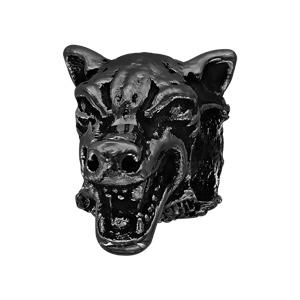 Charms Thabora grand modèle pour homme en acier et PVD noir tête de loup - Vue 1