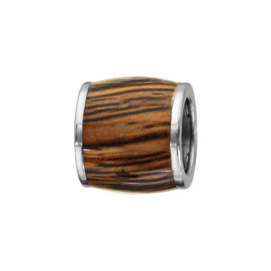Charms Thabora grand modèle pour homme en acier forme tonneau allongé aspect bois marron - Vue 1