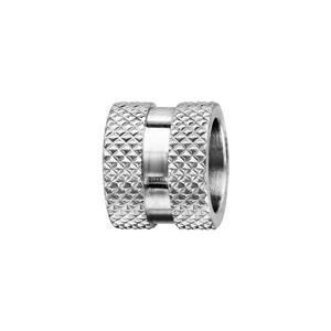 Charms Thabora grand modèle pour homme en acier motif diamanté sur les bords et bande lisse au milieu - Vue 1