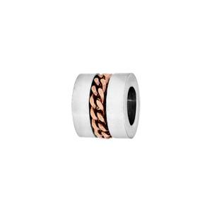 Charms Thabora médium en acier forme cylindre avec chaînette PVD rose - Vue 1