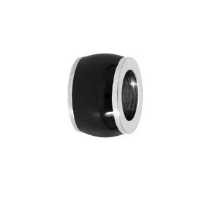 Charms Thabora médium en acier forme tonneau aspect bois noir - Vue 1