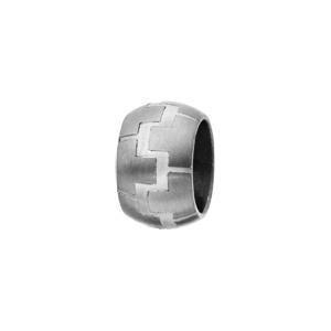 Charms Thabora pour homme en acier anneau bombé avec motifs briques - Vue 1