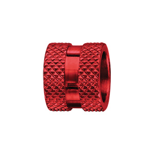 Charms Thabora pour homme en acier et aluminium anodisé rouge motif picots - Vue 1