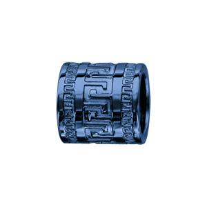 Charms Thabora pour homme en acier et PVD bleu forme tube avec méandres grecs - Vue 1