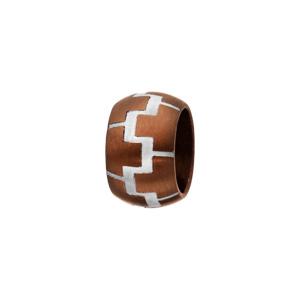 Charms Thabora pour homme en acier et PVD marron anneau bombé avec motifs briques gris - Vue 1