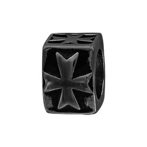 Charms Thabora pour homme en acier et PVD noir croix sur templier cubique - Vue 1
