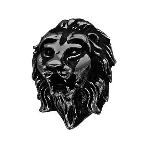 Charms Thabora pour homme en acier et PVD noir tête de lion - Vue 1