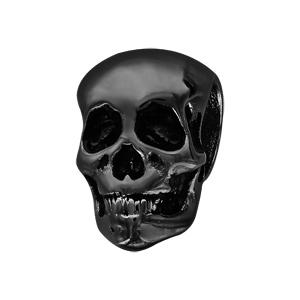 Charms Thabora pour homme en acier et PVD noir tête de mort - Vue 1