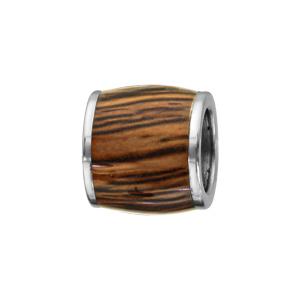 Charms Thabora pour homme en acier forme tonneau allongé en bois synthétique marron - Vue 1