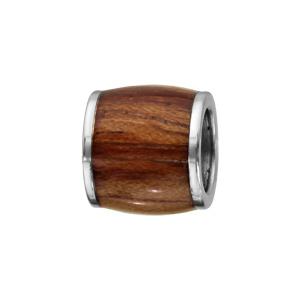 Charms Thabora pour homme en acier forme tonneau allongé en bois synthétique marron clair - Vue 1