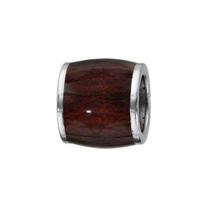 Charms Thabora pour homme en acier forme tonneau allongé en bois synthétique marron foncé - Vue 1