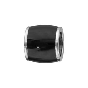 Charms Thabora pour homme en acier forme tonneau allongé noir - Vue 1