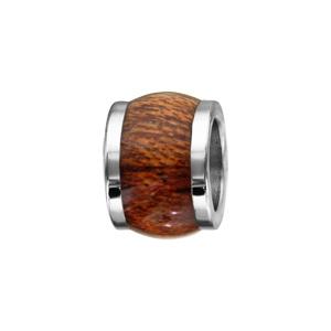 Charms Thabora pour homme en acier forme tonneau court en bois synthétique marron clair - Vue 1