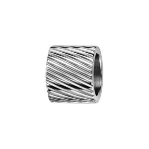 Charms Thabora pour homme en acier forme tube strié en diagonale - Vue 1