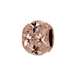 Charms Thabora séparateur en argent et dorure rose boule granitée et diamantée en étoiles - Vue 1