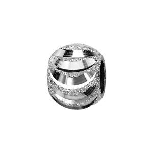 Charms Thabora séparateur en argent rhodié boule granité et diamantage en forme de lames - Vue 1