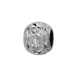 Charms Thabora séparateur en argent rhodié boule granitée avec 2 liserets sur les bords et diamantée en étoiles au milieu - Vue 1