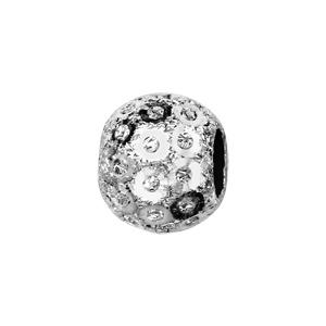 Charms Thabora séparateur en argent rhodié boule granitée avec sequins - Vue 1