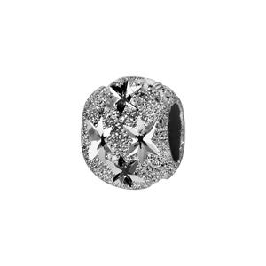 Charms Thabora séparateur en argent rhodié boule granitée et diamantée en étoiles - Vue 1