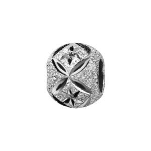 Charms Thabora séparateur en argent rhodié boule granitée et diamntée en rose des vents et croix