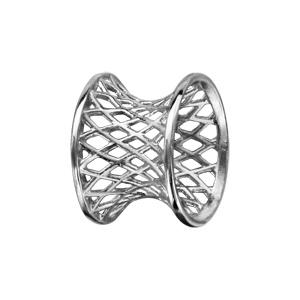 Charms Thabora séparateur en argent rhodié forme diabolo avec quadrillage ajouré - Vue 1