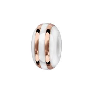 Charms Thabora séparateur en céramique blanche avec 2 filets en argent et PVD rose - Vue 1