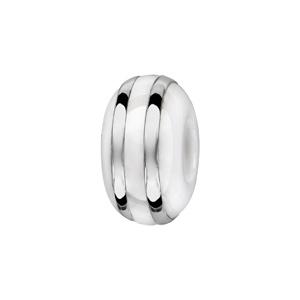Charms Thabora séparateur en céramique blanche avec 2 filets en argent rhodié - Vue 1