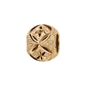 Charms Thabora séparateur en plaqué or boule granitée et diamantée en rose des vents et croix - Vue 1