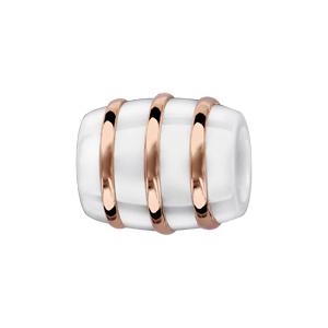 Charms Thabora tube en céramique blanche avec 3 filets en argent et PVD rose - Vue 1