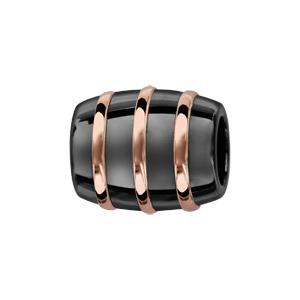 Charms Thabora tube en céramique noire avec 3 filets en argent et PVD rose - Vue 1