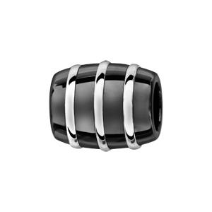Charms Thabora tube en céramique noire avec 3 filets en argent rhodié - Vue 1