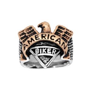 Chevalière en acier aigle american biker - Vue 1