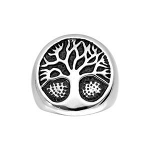 Chevalière en acier avec arbre de vie sur fond noir - Vue 1