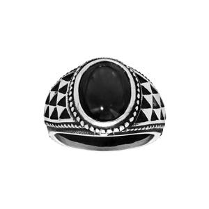 Chevalière en acier avec gros onyx de synthèse noir - Vue 1