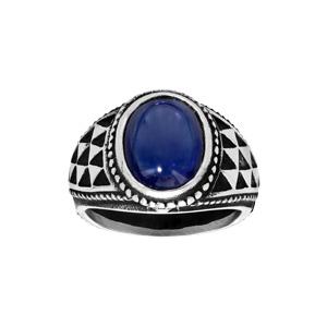 Chevalière en acier avec grosse pierre bleue - Vue 1