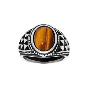 Chevalière en acier avec grosse pierre oeil de tigre - Vue 1