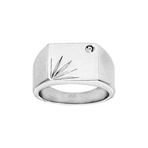 Chevalière en acier carré diamanté étoile avec strass - Vue 1