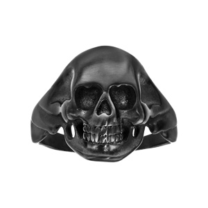 Chevaliere en acier et PVD noir moyenne tête de mort - Vue 1
