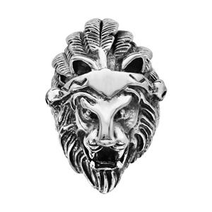 Chevalière en acier patiné tête de lion avec plume - Vue 1