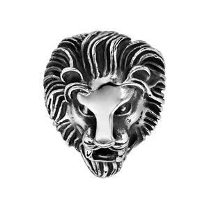 Chevalière en acier patiné tête de lion baissée - Vue 1