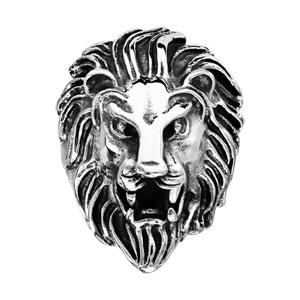 Chevalière en acier patiné tête de lion de face - Vue 1