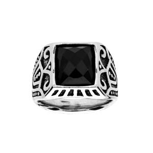 Chevalière en acier plateau avec pierre rectangulaire noire facetée - Vue 1